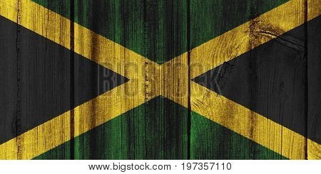 Jamaica Flag Painted On Wooden Wall For Background