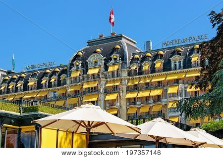 Fragment Of Hotel Facade At Geneva Lake Montreux Swiss Riviera