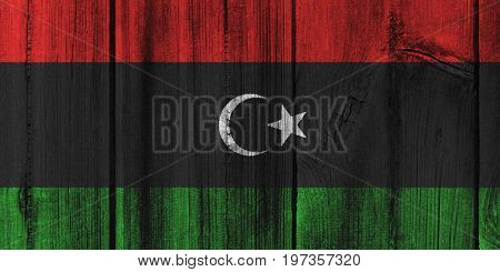 Libya Flag Painted On Wooden Wall For Background