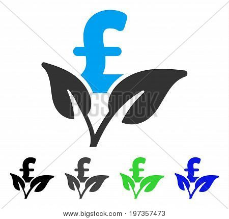 Eco Pound Business Startup flat vector pictograph. Colored eco pound business startup gray, black, blue, green pictogram variants. Flat icon style for graphic design.