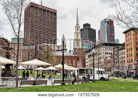 People At Boston Common Public Park In Downtown Boston America