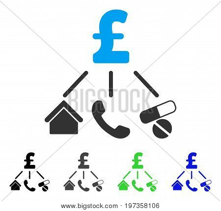 Life Pound Expenses flat vector pictogram. Colored life pound expenses gray, black, blue, green pictogram versions. Flat icon style for web design.
