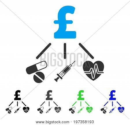 Medical Pound Budget flat vector illustration. Colored medical pound budget gray, black, blue, green pictogram variants. Flat icon style for application design.