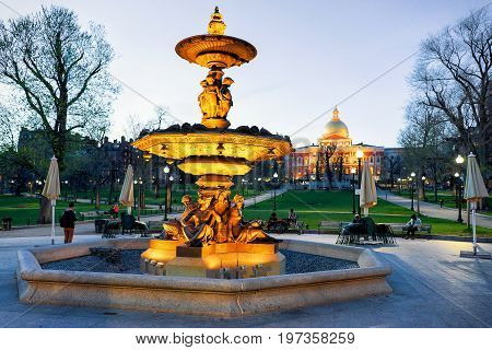 Fountain At Boston Common Park And People At Night America