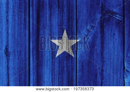 Somalia Flag Painted On Wooden Wall For Background