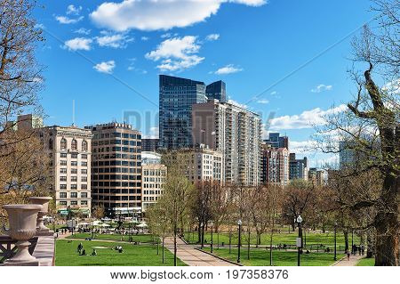 Boston Common Public Park And People In Downtown Boston America