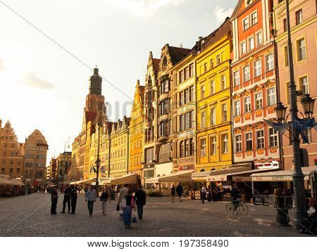 WROCLAW, POLAND - CIRCA 2014: Typical colorful houses on Market square in Wroclaw, Poland. Wroclaw is the capital of Silesia and Lower Silesia.