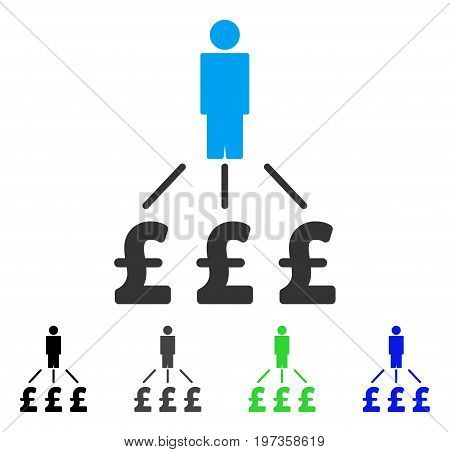 Person Pound Expenses flat vector pictogram. Colored person pound expenses gray, black, blue, green pictogram variants. Flat icon style for application design.