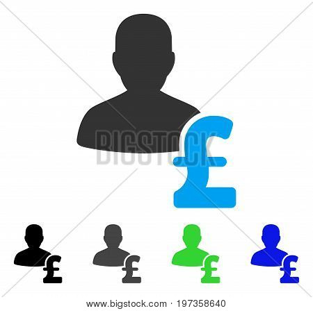 Person Pound Loan flat vector pictograph. Colored person pound loan gray, black, blue, green icon variants. Flat icon style for web design.