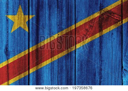 The Democratic Republic Of The Congo Flag Painted On Wooden Wall For Background