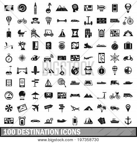 100 destination icons set in simple style for any design vector illustration