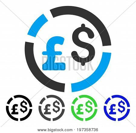 Pound And Dollar Currency Diagram flat vector pictograph. Colored pound and dollar currency diagram gray, black, blue, green icon variants. Flat icon style for application design.
