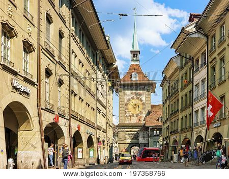 People At Kramgasse Street With Zytglogge Clock Tower Gate Bern