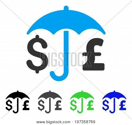 Pound And Dollar Financial Umbrella flat vector pictogram. Colored pound and dollar financial umbrella gray, black, blue, green icon variants. Flat icon style for web design.