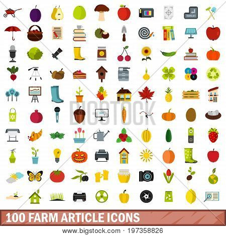 100 farm article icons set in flat style for any design vector illustration