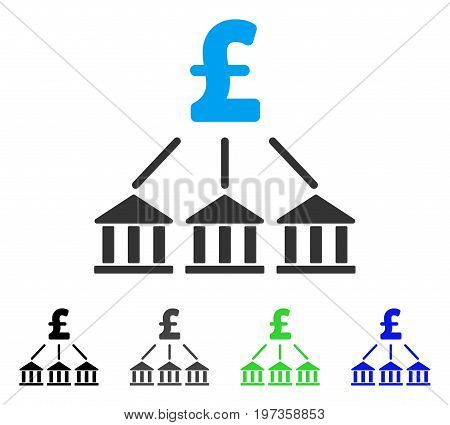 Pound Bank Association flat vector pictogram. Colored pound bank association gray, black, blue, green pictogram variants. Flat icon style for graphic design.