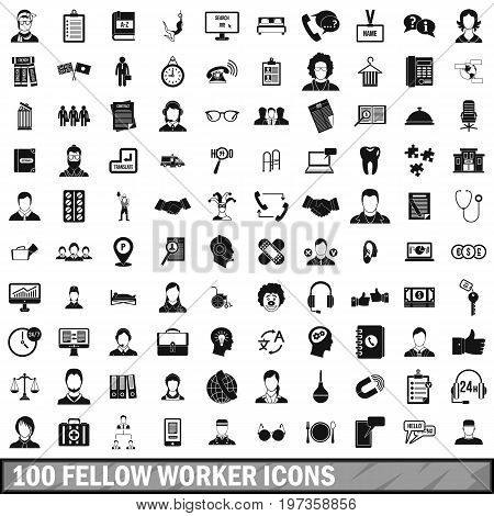 100 fellow worker icons set in simple style for any design vector illustration