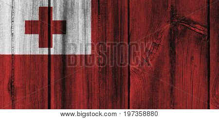 Tonga Flag Painted On Wooden Wall For Background