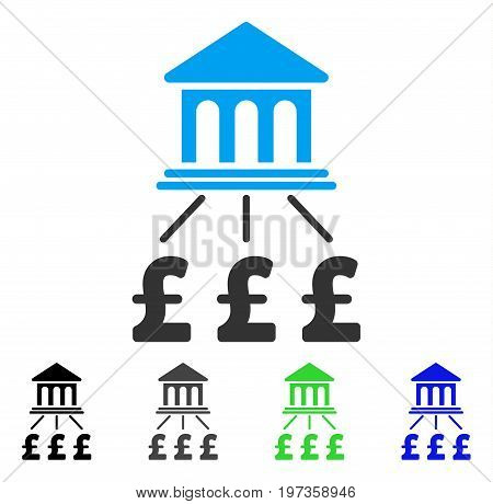 Pound Bank Scheme flat vector illustration. Colored pound bank scheme gray, black, blue, green pictogram versions. Flat icon style for web design.