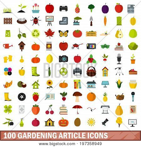100 gardening article icons set in flat style for any design vector illustration
