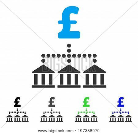 Pound Bank Scheme flat vector pictograph. Colored pound bank scheme gray, black, blue, green icon versions. Flat icon style for graphic design.