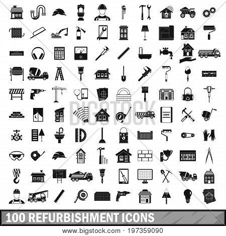 100 refurbishment icons set in simple style for any design vector illustration