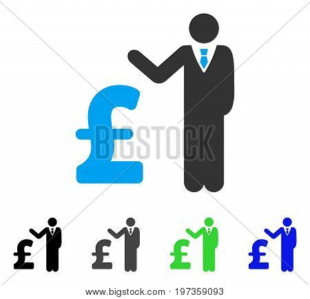 Pound Banker flat vector pictogram. Colored pound banker gray, black, blue, green icon versions. Flat icon style for application design.