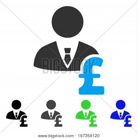 Pound Banker flat vector pictograph. Colored pound banker gray, black, blue, green pictogram variants. Flat icon style for graphic design.