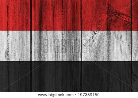 Yemen Flag Painted On Wooden Wall For Background