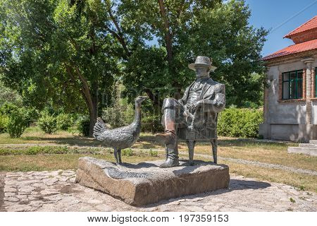 Askania-Nova, Kherson region, Ukraine - July 01 2017: Friedrich Falz-Fein monument and house founder of the known biosphere reserve Askania-Nova in Ukraine
