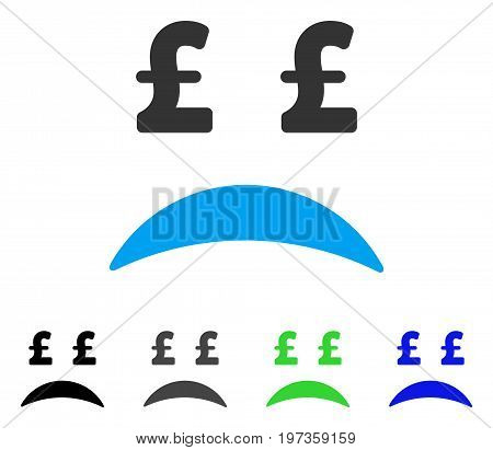 Pound Bankrupt Sad Emotion flat vector pictograph. Colored pound bankrupt sad emotion gray, black, blue, green icon versions. Flat icon style for graphic design.