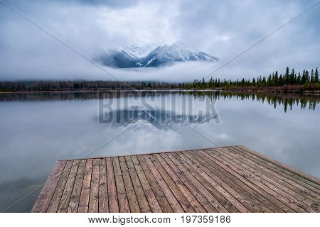 Wooden dock at Vermillion Lakes near the Banff townsite in Banff National Park, Alberta, Canada