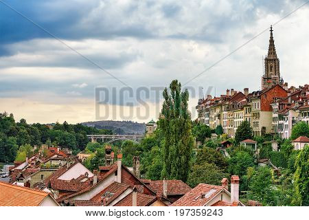 Spire Of Bern Minster And Rooftops In Bern Swiss