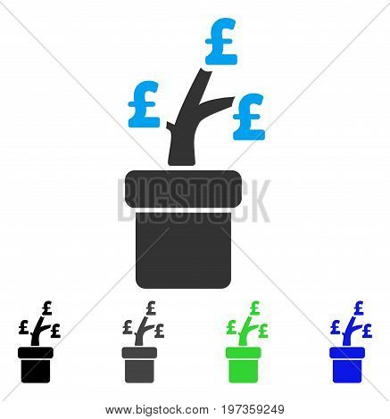 Pound Business Project Plant flat vector pictogram. Colored pound business project plant gray, black, blue, green pictogram versions. Flat icon style for web design.
