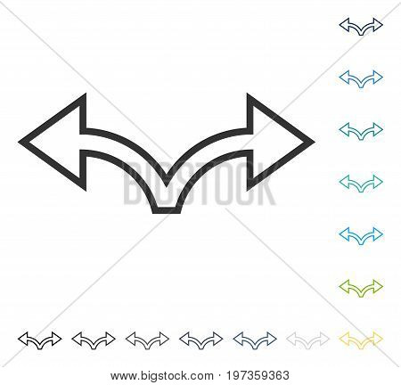 Bifurcation Arrow Left Right icon. Vector illustration style is flat iconic symbol in some color versions.