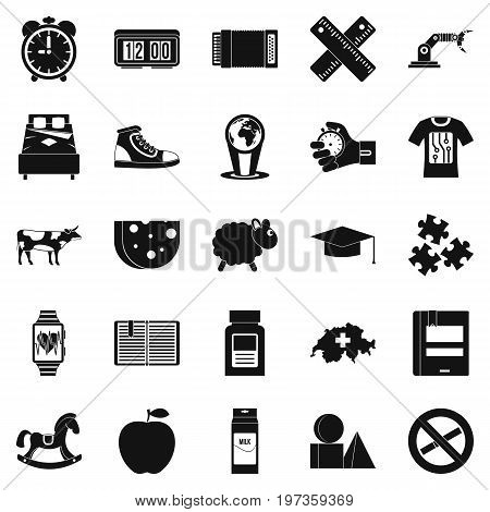 Alarm icons set. Simple set of 25 alarm icons for web isolated on white background