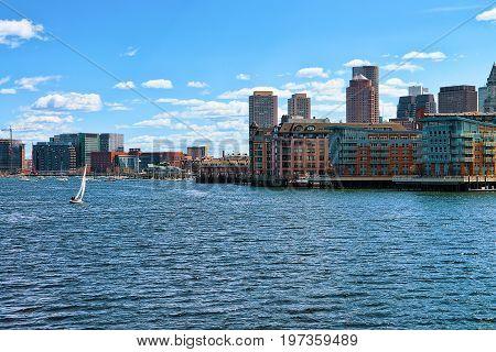 Sailing Boat With The Skyline Boston Ma America