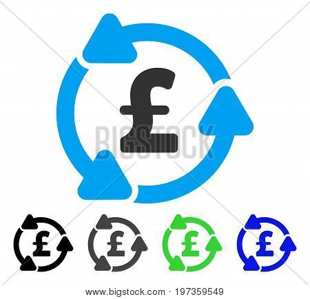 Pound Circulation flat vector icon. Colored pound circulation gray, black, blue, green icon versions. Flat icon style for graphic design.