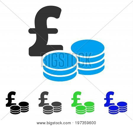 Pound Coins flat vector pictograph. Colored pound coins gray, black, blue, green pictogram variants. Flat icon style for web design.