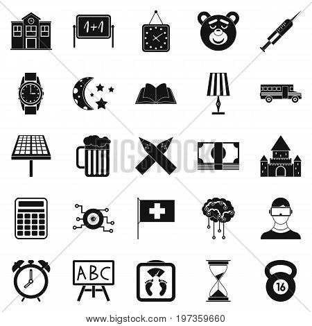 School bell icons set. Simple set of 25 school bell icons for web isolated on white background