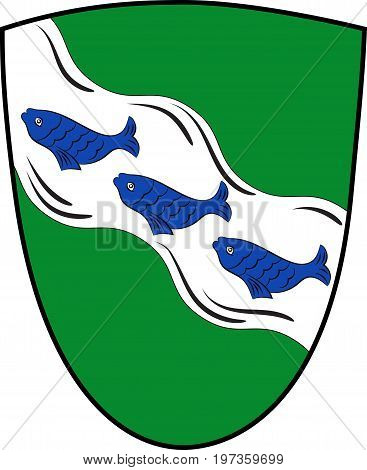 Coat of arms of Ansbach is a city in the German state of Bavaria. Vector illustration from the