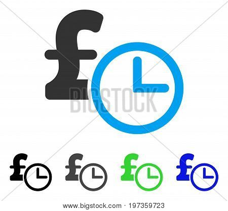 Pound Credit flat vector pictograph. Colored pound credit gray, black, blue, green pictogram versions. Flat icon style for application design.