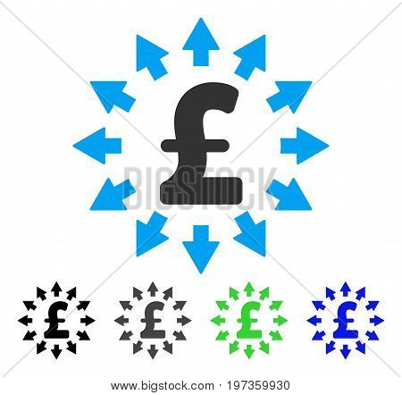 Pound Distribution flat vector illustration. Colored pound distribution gray, black, blue, green pictogram versions. Flat icon style for graphic design.