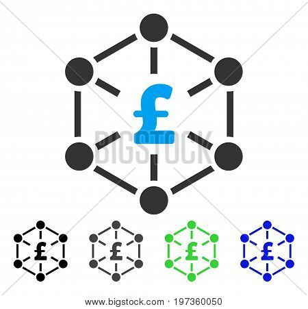 Pound Finance Network flat vector illustration. Colored pound finance network gray, black, blue, green icon versions. Flat icon style for graphic design.