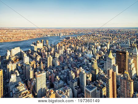 Aerial View Of Skyscrapers In Manhattan And Brooklyn Nyc America