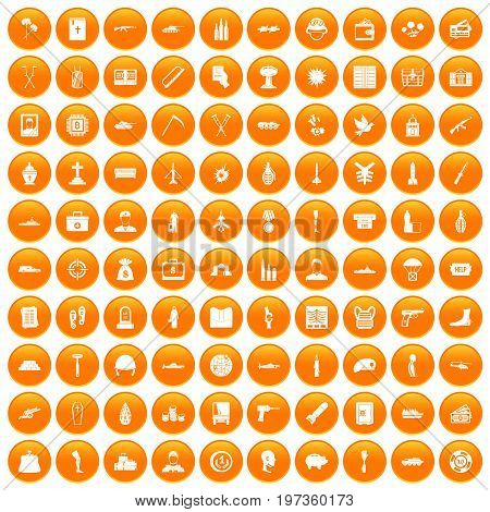 100 war crimes icons set in orange circle isolated on white vector illustration