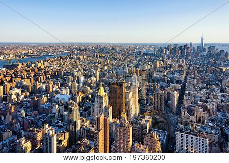 Aerial View Of Skyline In Downtown Lower Manhattan Nyc America