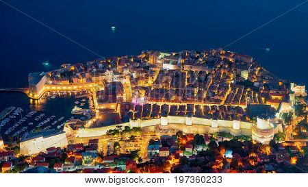 Night View Of Dubrovnik Old Town And Adriatic Sea Croatia