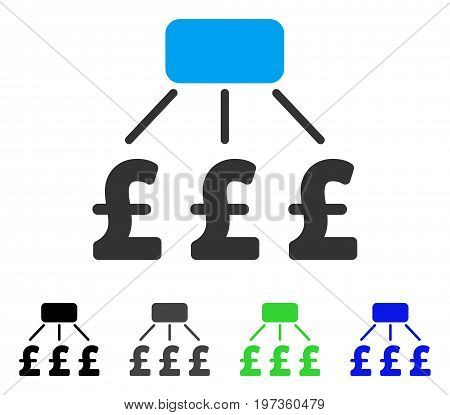 Pound Financial Scheme flat vector illustration. Colored pound financial scheme gray, black, blue, green icon versions. Flat icon style for application design.