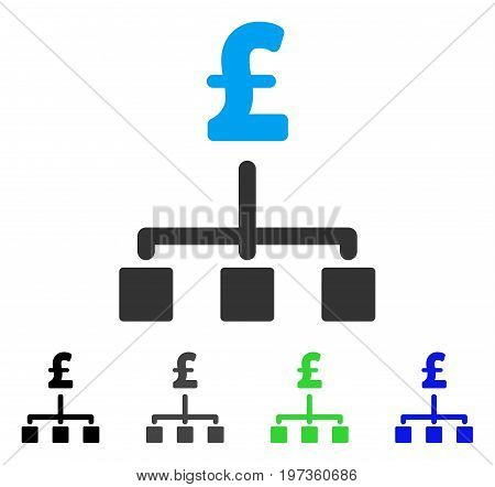 Pound Hierarchy flat vector icon. Colored pound hierarchy gray, black, blue, green pictogram variants. Flat icon style for web design.
